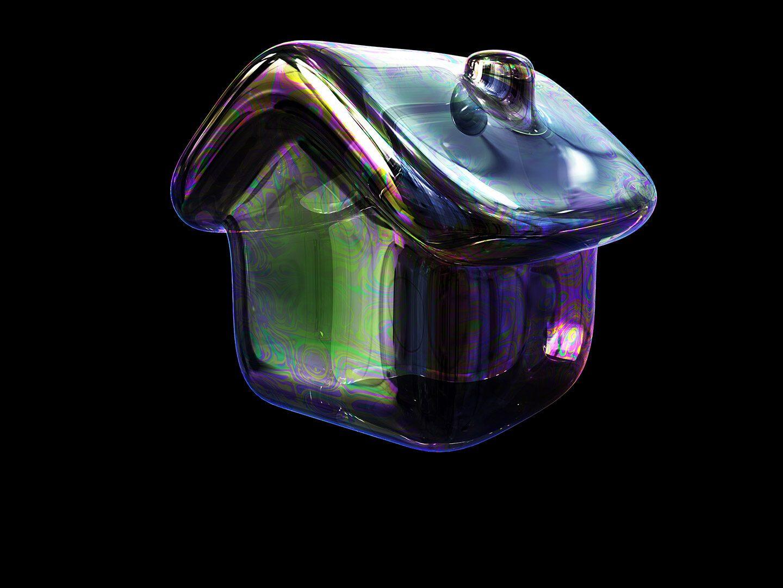 Eine Seifenblase in Form eines Hauses.
