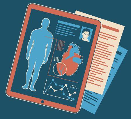 Illustration eines Tablets mit einem Körper und Herz. Darunter liegen Dokumente