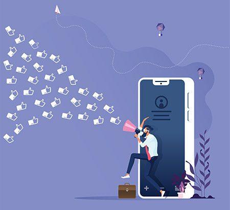 Ein Mann mit Megafone kommt aus dem Smartphone und vergibt