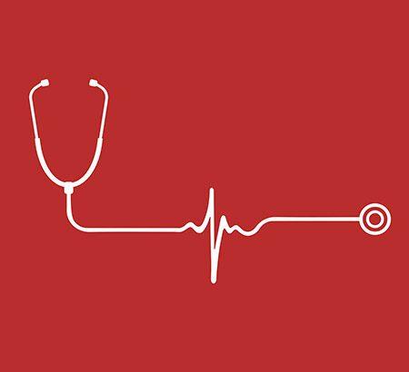 Illustration eines Stethoskop auf roten Hintergrund