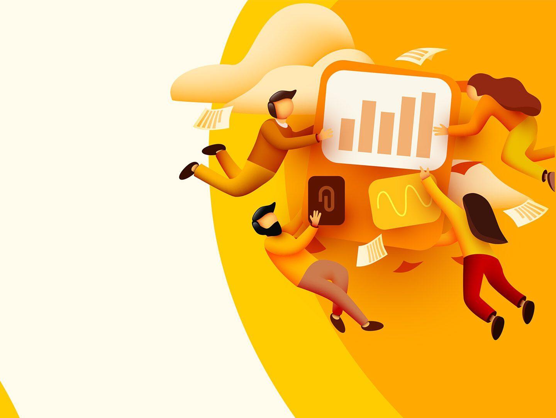 Illustration von Online-Marketing-Profis mit goldenen Hintergrund