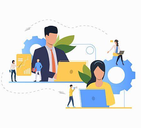 Illustration von Mitarbeitenden die im Teamwork arbeiten