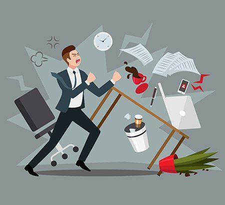 Illustration eines Arbeitnehmers der seinen Schreibtisch umhaut