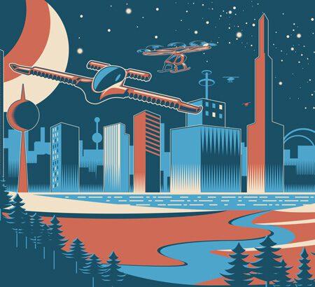 Fliegende Autos über einer futuristischen Stadt