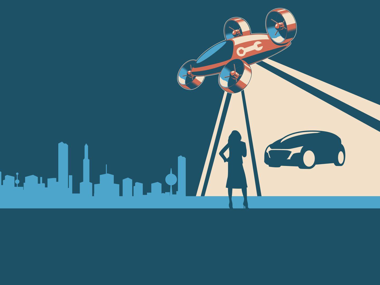 Illustration: Autos der Zukunft und Versicherungen