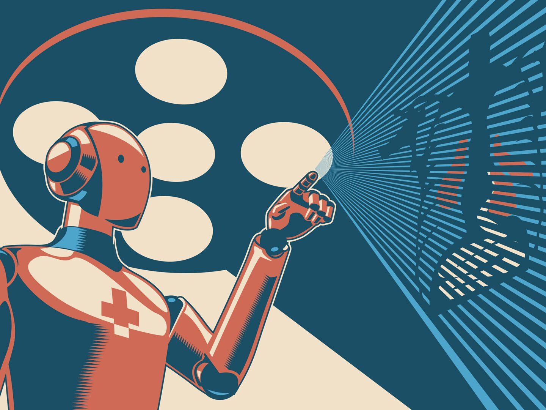 Illustration eines Roboters im Gesundheitswesen