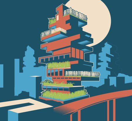 Illustration eines Hauses mit mehreren Stockwerken und smart farming