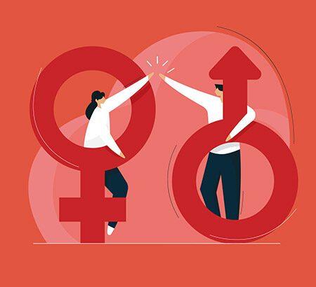 Illustration von einem weiblich und männlich Zeichen