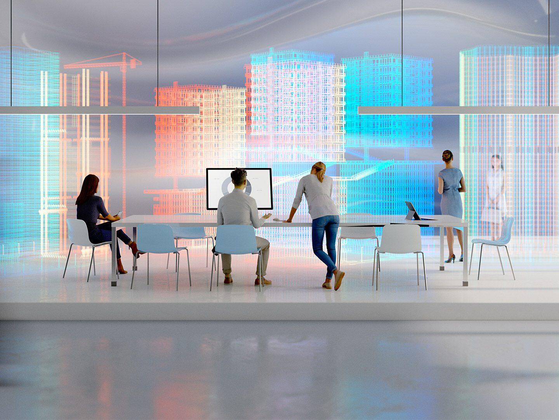 Bild eines hellen Raums mit Kollegen